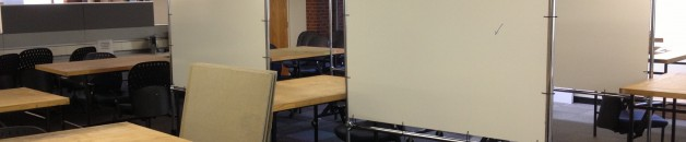 Studio classroom, with work-tables and Z-Racks arranged together.