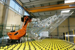 """KUKA robot for flat glas handling"" by KUKA Roboter GmbH, Bachmann - KUKA Roboter GmbH, Zugspitzstraße 140, D-86165 Augsburg, Germany, Dep. Marketing, www.kuka-robotics.com. Licensed under Public Domain via Wikimedia Commons - http://commons.wikimedia.org/wiki/File:KUKA_robot_for_flat_glas_handling.jpg#mediaviewer/File:KUKA_robot_for_flat_glas_handling.jpg"